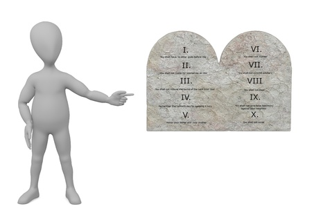 stockie: 3d render of cartoon character with ten commandments Stock Photo