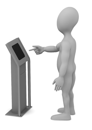 3d render of cartoon character with terminal photo