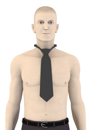 artifical: 3d render of artifical character with tie