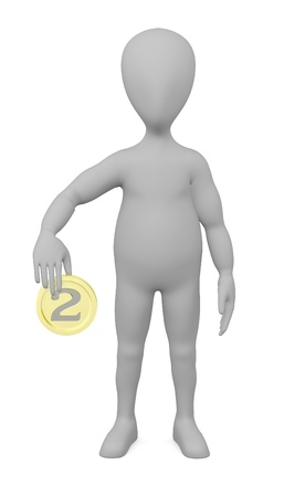 3d render of cartoon character with coin photo