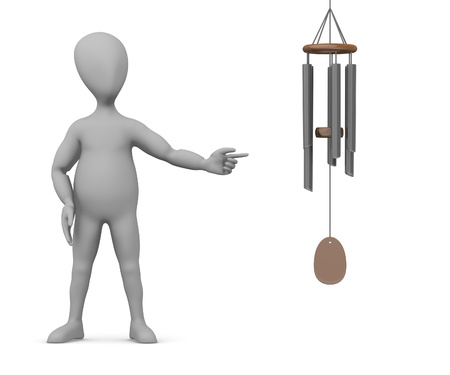 chimes: 3d render of cartoon character with wind chimes