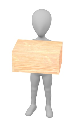 3d render of cartoon character with wooden box photo