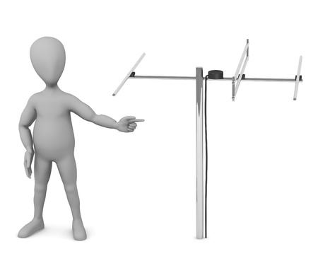 television aerial: 3d render of cartoon character with antenne Stock Photo