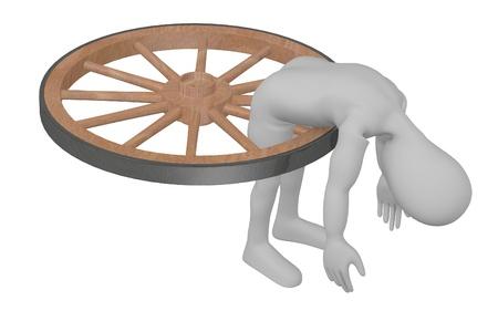 stockie: 3d render of cartoon character broken in wheel