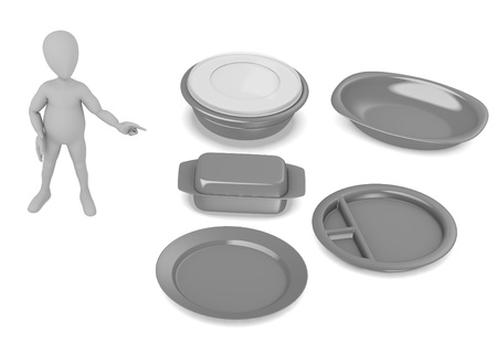 3d render of cartoon character with bowls photo