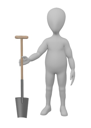 3d render of cartoon character with farming tool photo