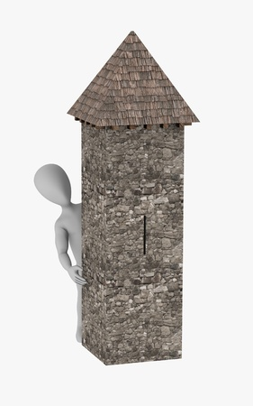 turret: 3d render of cartoon character with tower