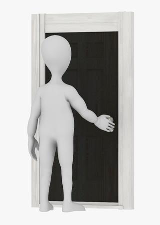 stockie: 3d render of cartoon character with door