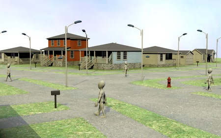 3d render of cartoon characters in US town photo