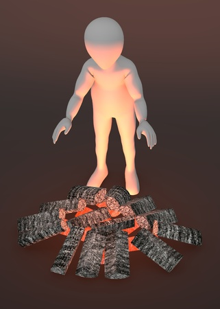 3d render of cartoon character with fireplace Stock Photo - 13743804