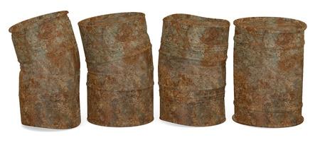toxic barrels: 3d  render of metal barrels