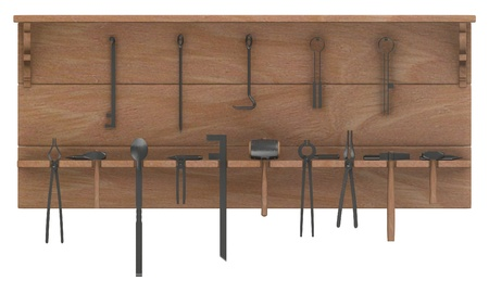 blacksmith: 3d  render of  blacksmith tools
