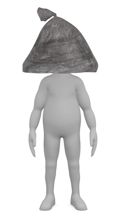 3d render of cartoon character with garbage bag instead of head photo