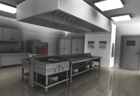 3d render of professional restaurant  kitchen Stock Photo
