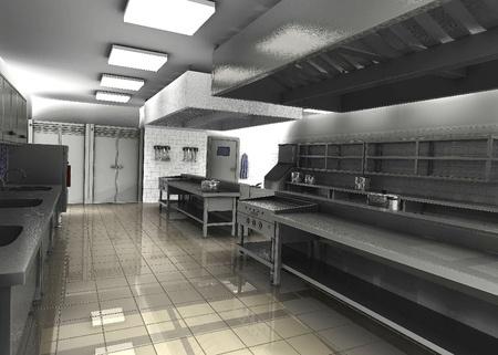 3D render van professionele restaurantkeuken