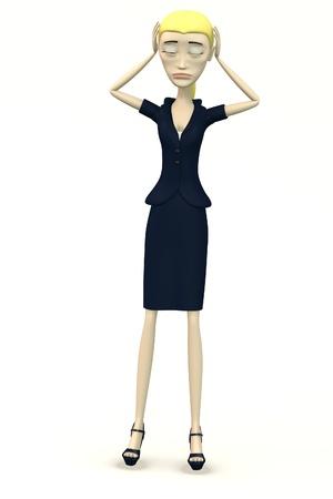 cartoon businesswoman - despair Stock Photo