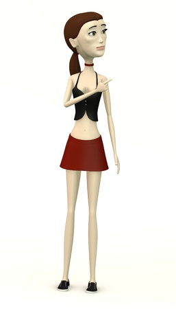 miniskirt: female character in casual clothes pointing Stock Photo