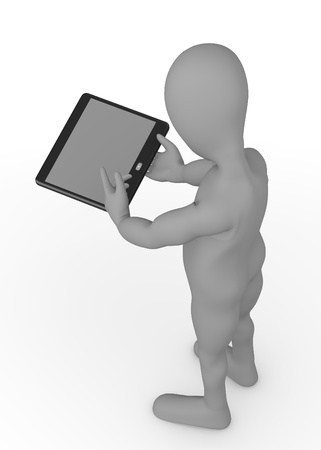 stockie: cartoon character with tablet