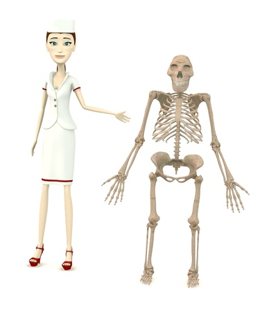australopithecus: 3d render of cartoon character with australopithecus skeleton Stock Photo