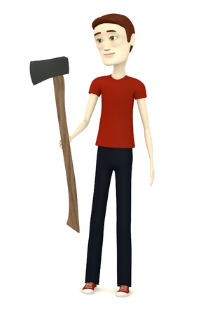 3d render of cartoon character with axe photo