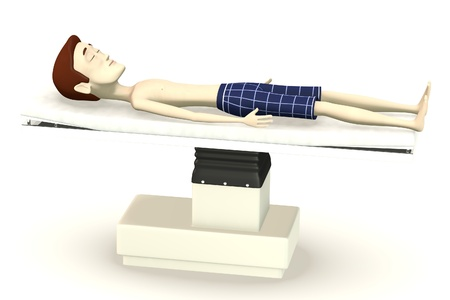 3d render of cartoon character on surgery bed photo