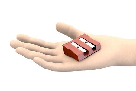sharpener: pencil sharpener in hand Stock Photo