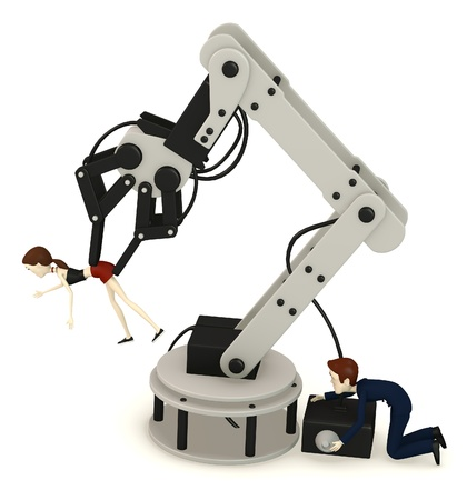 bot: 3d render of cartoon character controling another Stock Photo