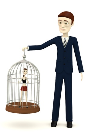 3d render of cartoon girl in bird cage Stock Photo - 17911915