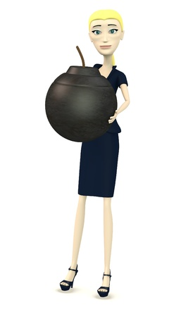 3d render of cartoon businesswoman with bomb photo