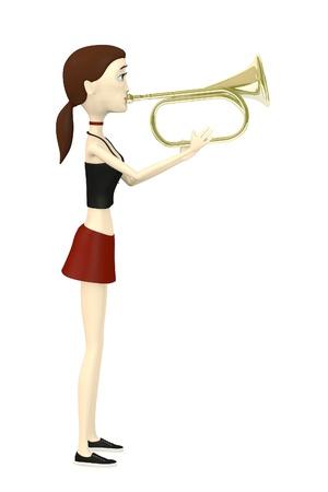 fanfare: 3d render of cartoon character playing on brass trumpet