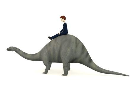 3d render of cartoon character on brontosaurus Stock Photo - 17911883