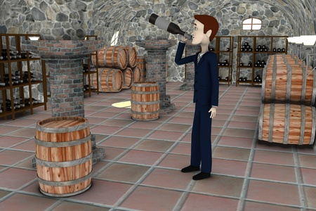 cellar: 3d render of cartoon character drunk in cellar