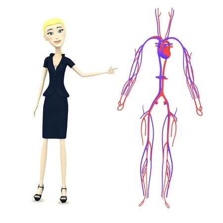 3d render of cartoon character with circulatory system photo