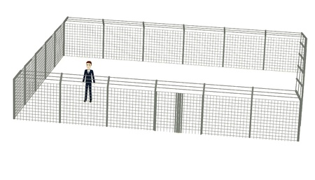 3d render of cartoon character in fence Stock Photo - 17911950