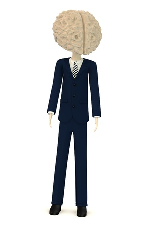 3d render of businessman with large brain instead of head Stock Photo - 18051103