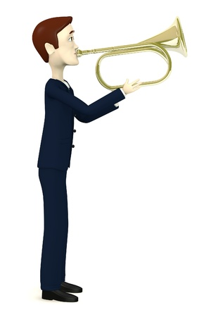 fanfare: 3d render of businessman playing on brass trumpet Stock Photo