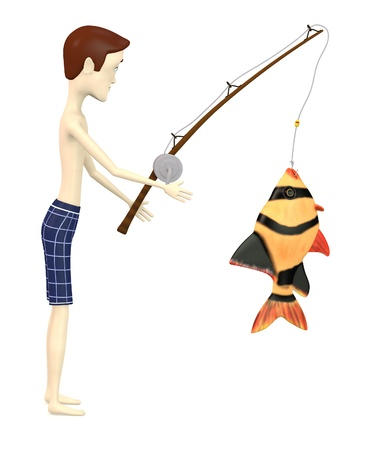 fisher man: 3d render of cartoon character with fish
