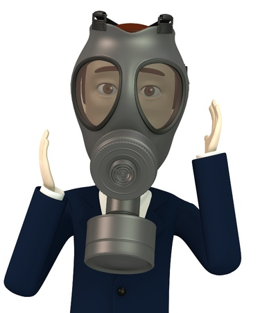 chemical warfare: 3d render of cartoon character with gas mask Stock Photo