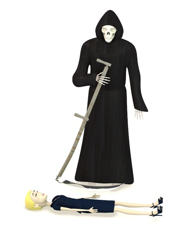 3d render of cartoon character with grim reaper photo