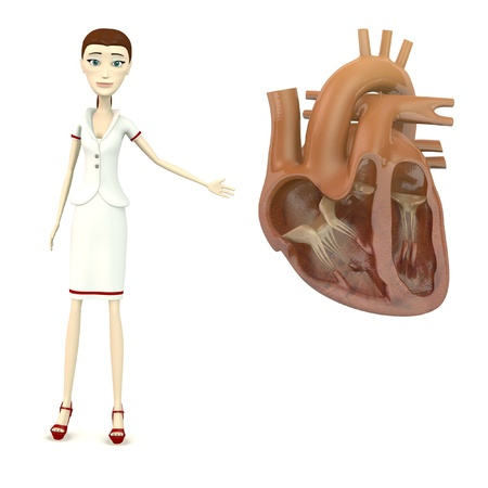 3d render of cartoon character with human heart Stock Photo - 18051359