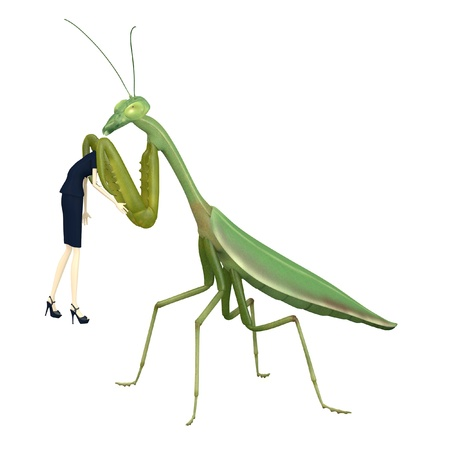 3d render of cartoon character eaten by mantis photo