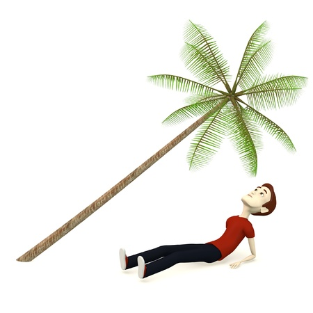 cartoon palm tree: 3d render of cartoon character relaxing under palm Stock Photo