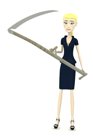 3d render of cartoon character with scythe photo