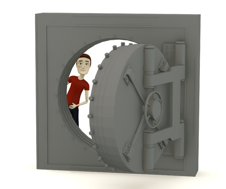 3d render of cartoon character in vault photo