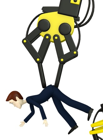 controling: 3d render of cartoon character controling another Stock Photo