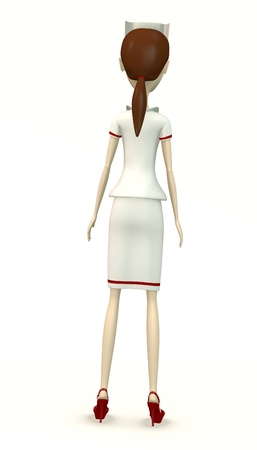 woman behind: in nurse clothes from back Stock Photo