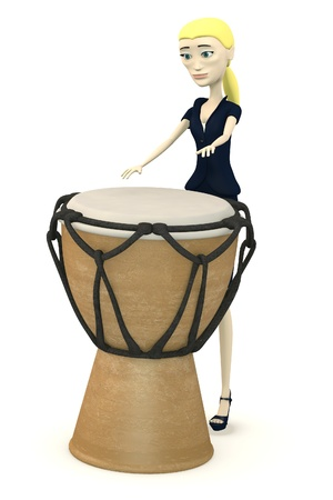 3d render of cartoon businesswoman drumming Stock Photo - 18072537