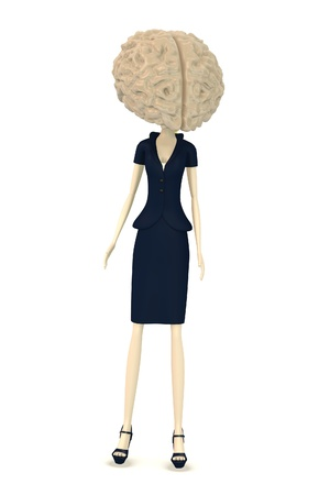 3d render of businesswoman with large brain instead of head photo