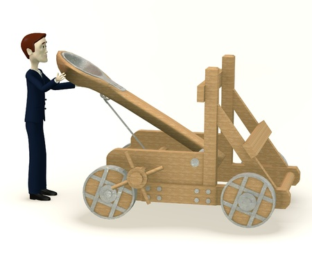 catapult: 3d render of cartoon character with catapult