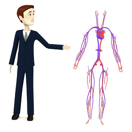3d render of cartoon character with circulatory system Stock Photo - 18072505